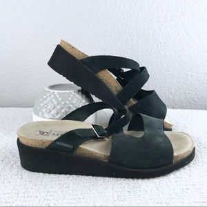 Mephisto Black Wedge Sandals
